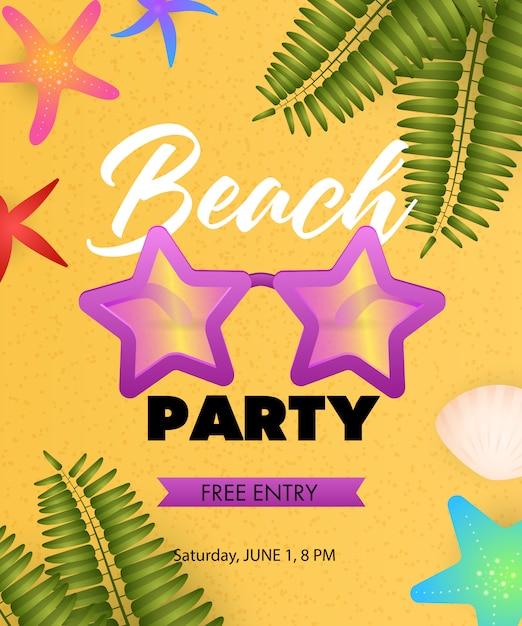 Inscription beach party avec des lunettes de soleil en forme d'étoile Vecteur gratuit