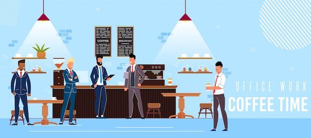 Inscription bureau travail café temps plat. Vecteur Premium