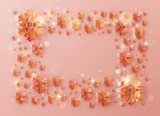 Inscription De Cadre De Modèle De Noël Décorée De Flocons De Neige En Papier De Couleur Chaude. Vecteur Premium