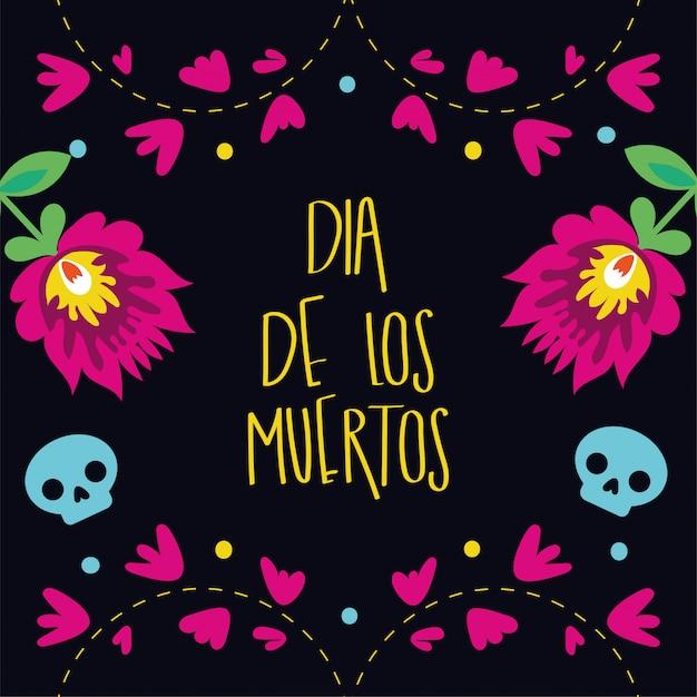 Inscription de carte dia de muertos avec décoration de jardin de fleurs Vecteur gratuit