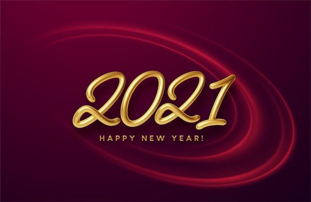 Inscription Dorée 3d Brillante Réaliste 2021 Bonne Année Sur Un Fond Avec Des Vagues Lumineuses Rouges. Vecteur Premium