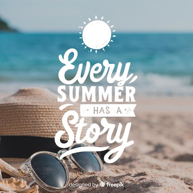 Inscription d'été avec photo Vecteur gratuit