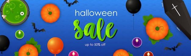 Inscription halloween avec potion, citrouilles et cercueil Vecteur gratuit