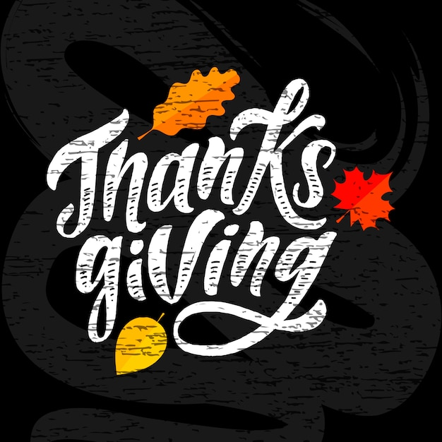Inscription happy thanksgiving calligraphie pinceau Vecteur Premium