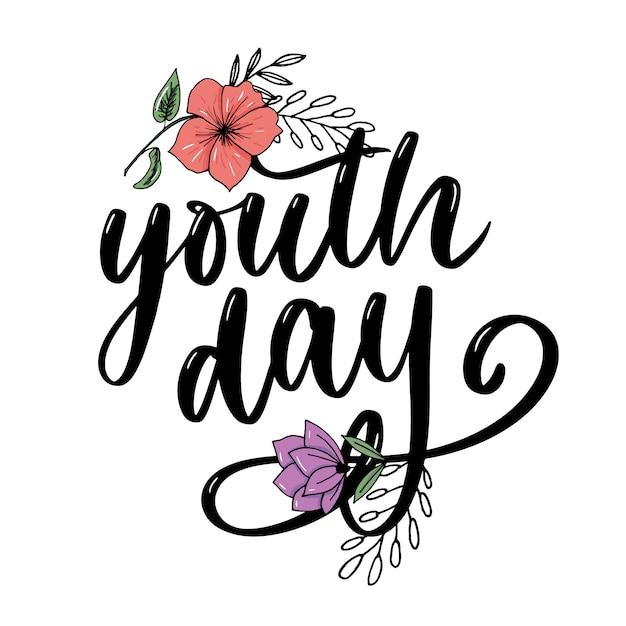 Inscription de la journée internationale de la jeunesse Vecteur Premium