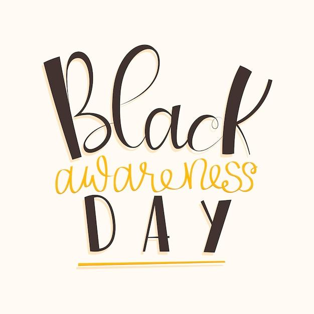 Inscription De La Journée De Sensibilisation Noire Vecteur gratuit