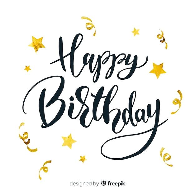 Inscription joyeux anniversaire avec étoiles dorées Vecteur gratuit