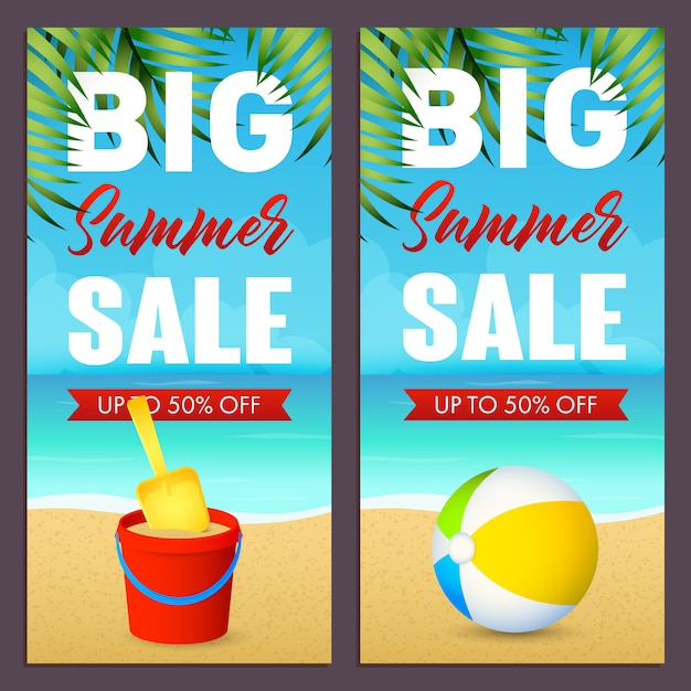 Inscription de vente d'été sertie de ballon et jouet seau sur la plage Vecteur gratuit