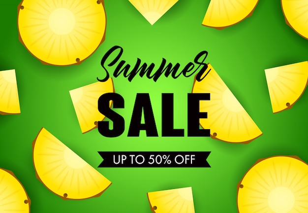 Inscription de vente d'été avec des tranches d'ananas Vecteur gratuit