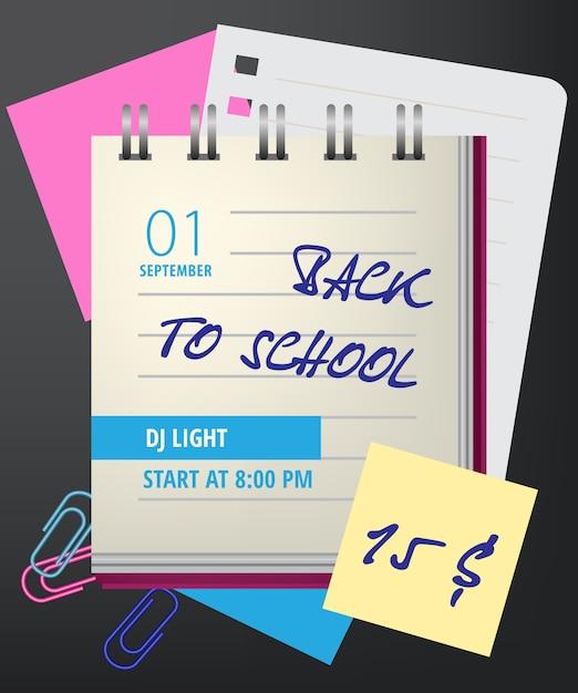Inscriptions pour la rentrée scolaire avec un cahier et des trombones Vecteur gratuit
