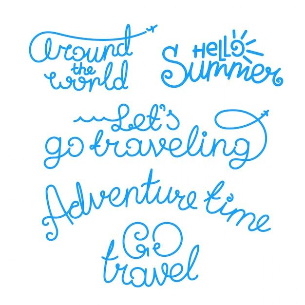 Inscriptions de voyage. logos vectoriels isolés sur fond blanc Vecteur Premium