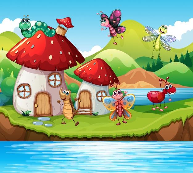 Insecte, à, champignon magique, maison Vecteur Premium