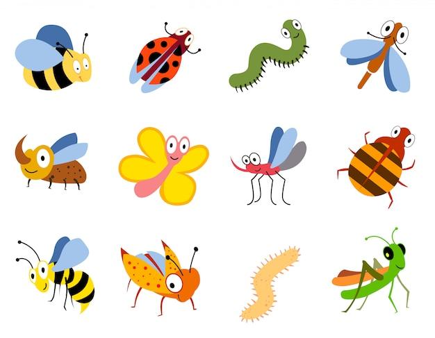 Insectes Drôles, Jeu De Vecteur De Bugs De Dessin Animé Mignon Vecteur Premium