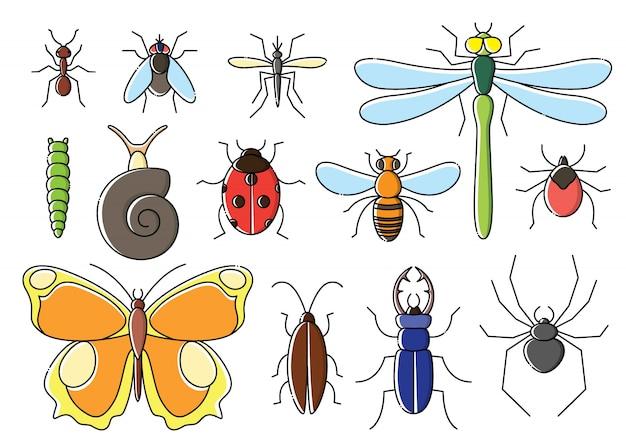 Les Insectes Mis En Style Plat. Collection D'icônes De Bogues D'art De Ligne. Vecteur Premium