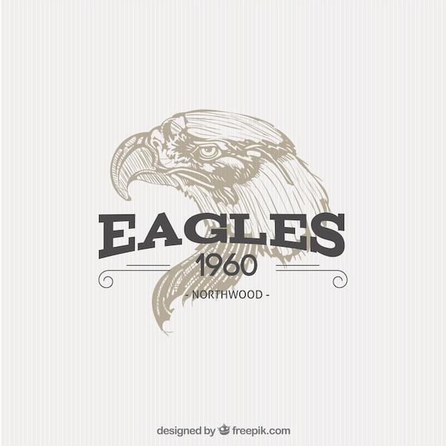 Insigne Aigle Illustrated Vecteur Premium