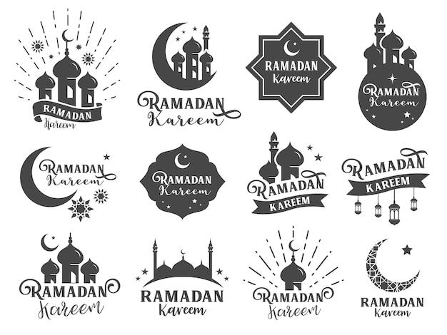 Insigne d'autocollant ramadan islamique. Vecteur Premium