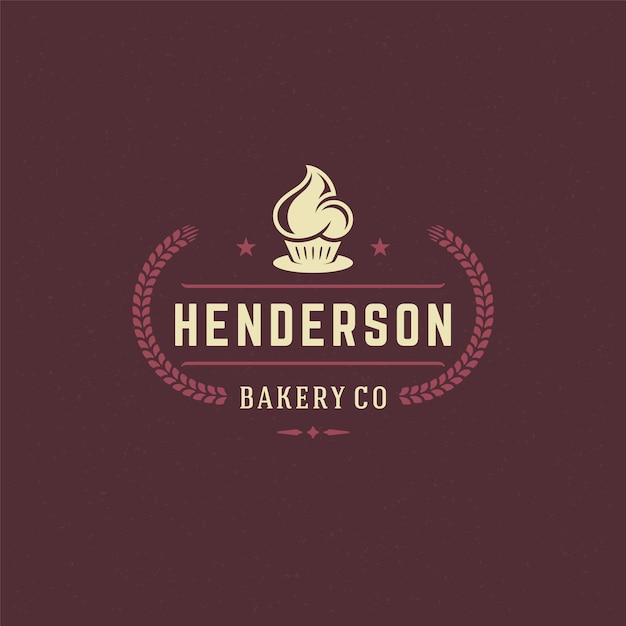 Insigne De Boulangerie Ou étiquette Illustration Rétro Cupcake Et Silhouettes De Blé Pour Boulangerie. Vecteur Premium