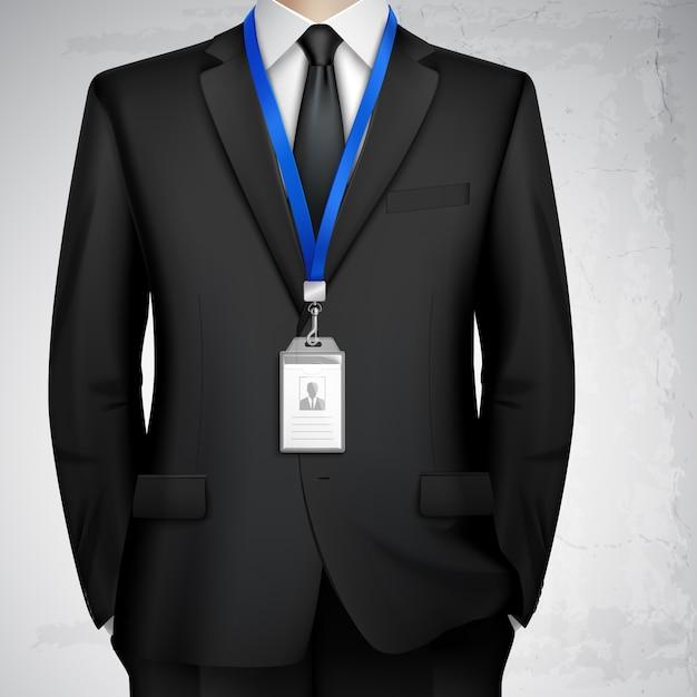 Insigne de carte d'identité homme d'affaires réaliste Vecteur gratuit