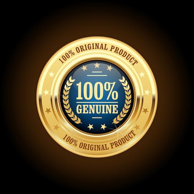 Insigne Doré De Produit Authentique Et Original Vecteur Premium