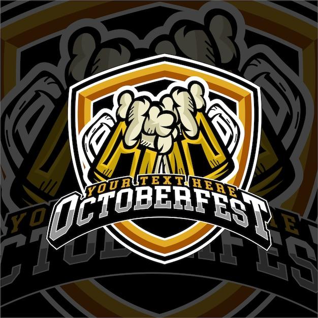 Insigne du logo de la bière «e sports october fest» Vecteur Premium