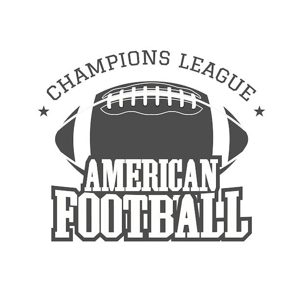 Insigne De Football Américain, Logo, étiquette, Insignes Dans Le Style De Couleur Rétro. Impression Monochrome Isolée Sur Un Fond Sombre. Vecteur Premium
