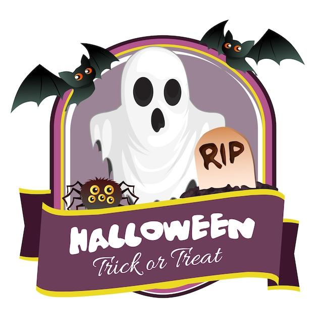 Insigne D Halloween Avec Une Tombe De Chauve Souris Fantôme