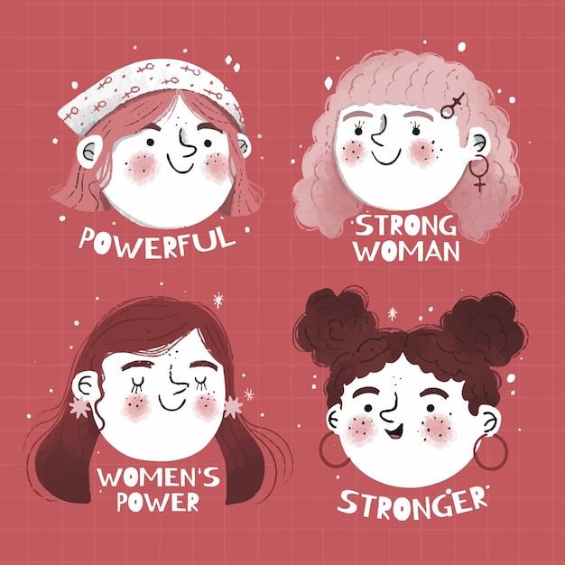 Insigne De La Journée Internationale Des Femmes Dessiné à La Main Vecteur gratuit