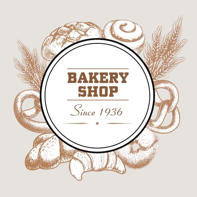 Insigne De Logo De Boulangerie Avec Pain Frais Cuit Au Four, Bretzel, Croissant, Bagel, Pain Glacé à La Cannelle Et Blé. Vecteur Premium
