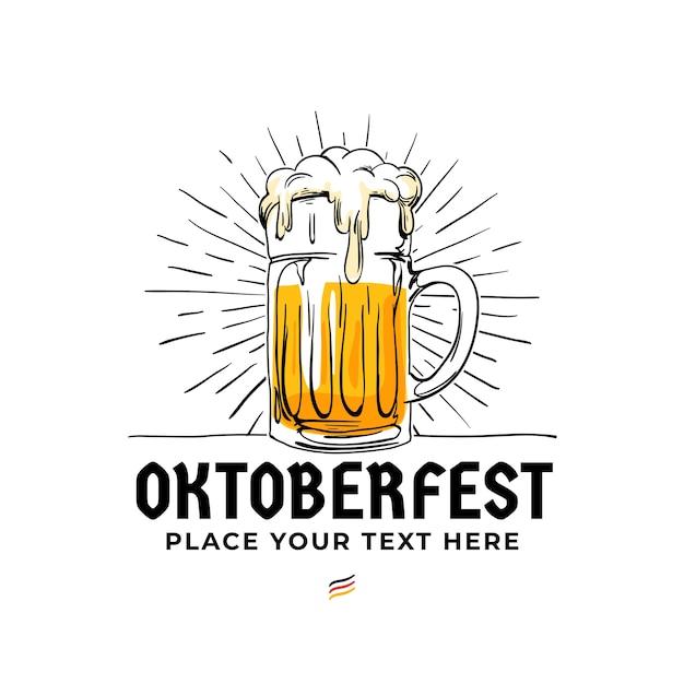 Insigne de logo dessiné à la main oktoberfest. Vecteur Premium