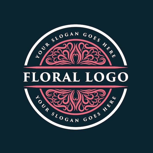 Insigne De Logo Féminin Et Floral Dessiné à La Main Rose Adapté Aux Cheveux Et à La Beauté De La Peau Du Salon De Spa Vecteur Premium