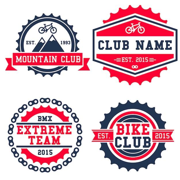 Insigne de logo de vélo de montagne isolé sur fond blanc Vecteur Premium
