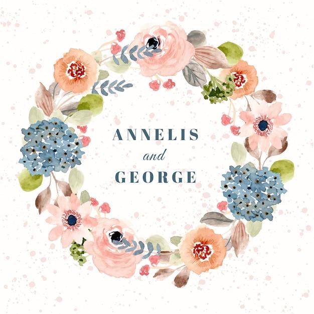 Insigne de mariage avec couronne aquarelle blush fleur bleue Vecteur Premium