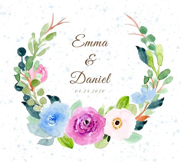 Insigne de mariage avec couronne d'aquarelle de fleur douce Vecteur Premium