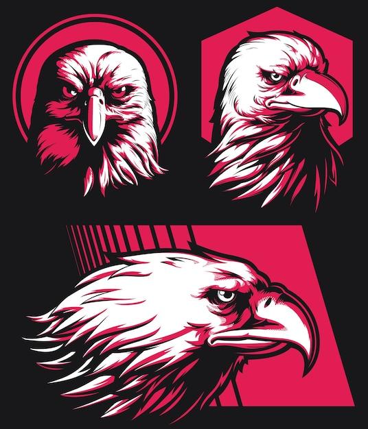 Insigne De Mascotte Isolé De Logo De Tête De Faucon D'aigle De Silhouette Sur Le Style Noir Et Blanc Vecteur Premium