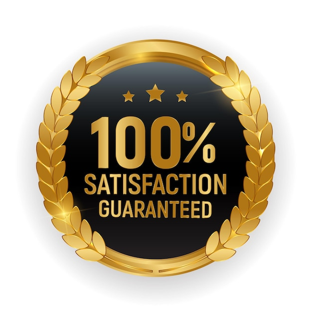 Insigne De Médaille D'or De Qualité Premium.100 Signe De Satisfaction Garantie Isolé Sur Fond Blanc. Vecteur Premium