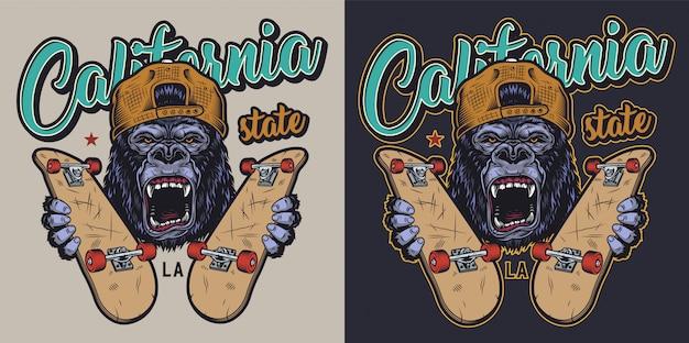 Insigne De Skateboard Coloré Vecteur gratuit