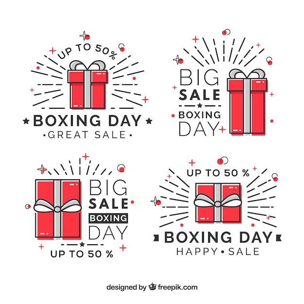 Insigne de vente de jour de boxe moderne Vecteur gratuit