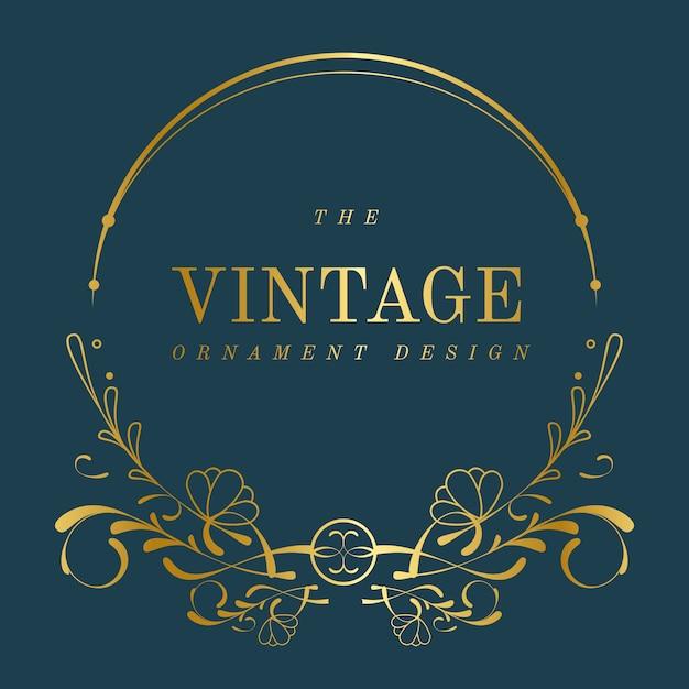 Insigne Vintage Art Nouveau Doré Sur Vecteur Bleu Vecteur gratuit