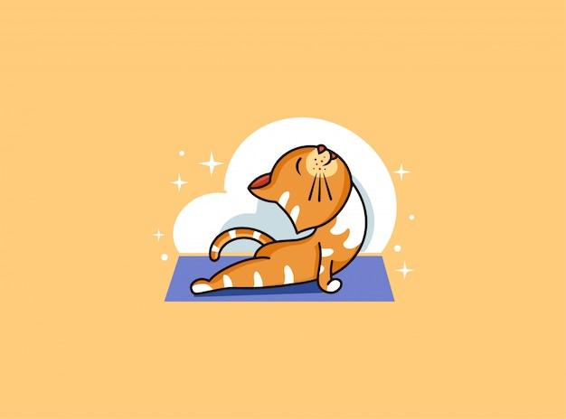 Insigne De Yoga Kitty, Autocollant, étiquette. Chat Drôle, Pose De Cobra Vecteur Premium