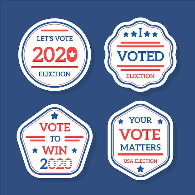 Insignes Et Autocollants De Vote Pour L'élection Présidentielle Des états-unis 2020 Vecteur gratuit
