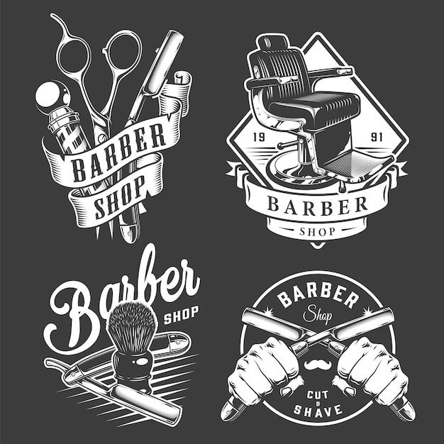 Insignes De Barbier Vintage Vecteur gratuit