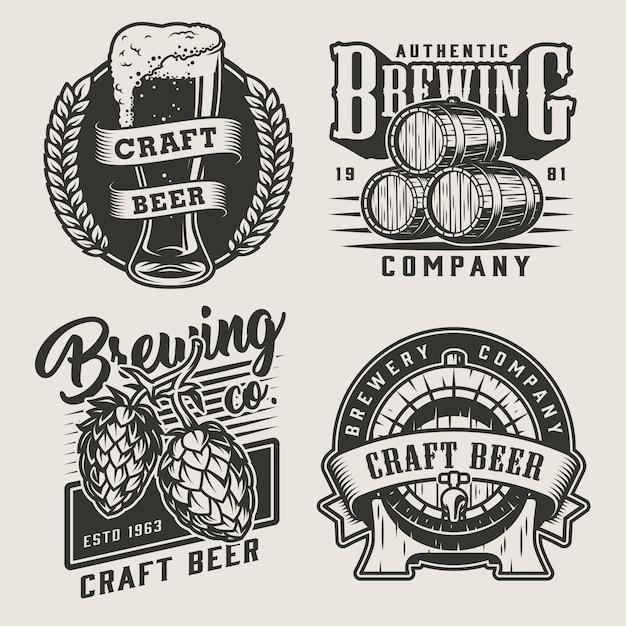Insignes De Bière Artisanale Monochrome Vintage Vecteur gratuit