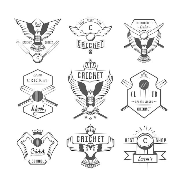 Insignes de cricket Vecteur Premium