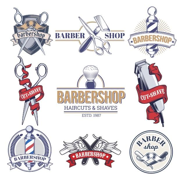 Insignes de collection, logos avec outils de salon de coiffure. Vecteur gratuit