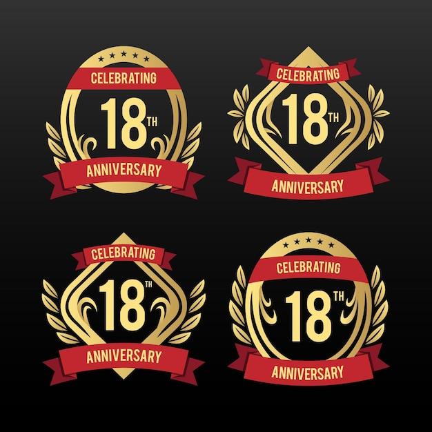 Insignes Du 18e Anniversaire Vecteur gratuit