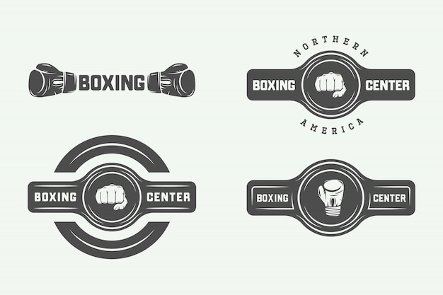 Insignes du logo de la boxe et des arts martiaux Vecteur Premium