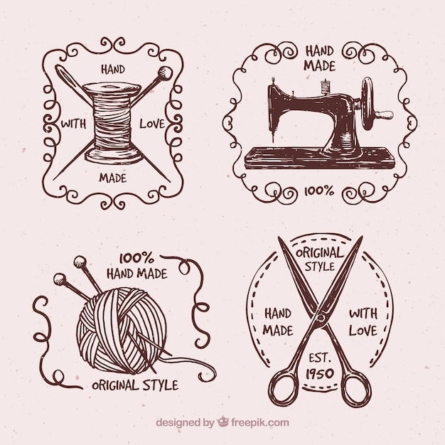 Insignes ensemble de la main dessinées vintage couture Vecteur gratuit