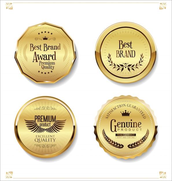 Insignes et étiquettes de luxe premium doré Vecteur Premium