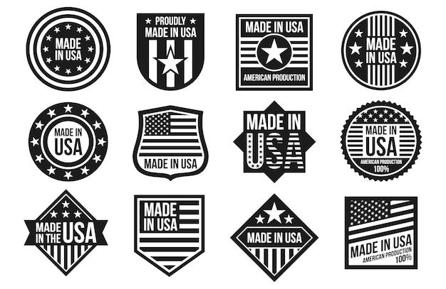 Insignes Fabriqués En Noir Et Blanc Aux états-unis Vecteur Premium