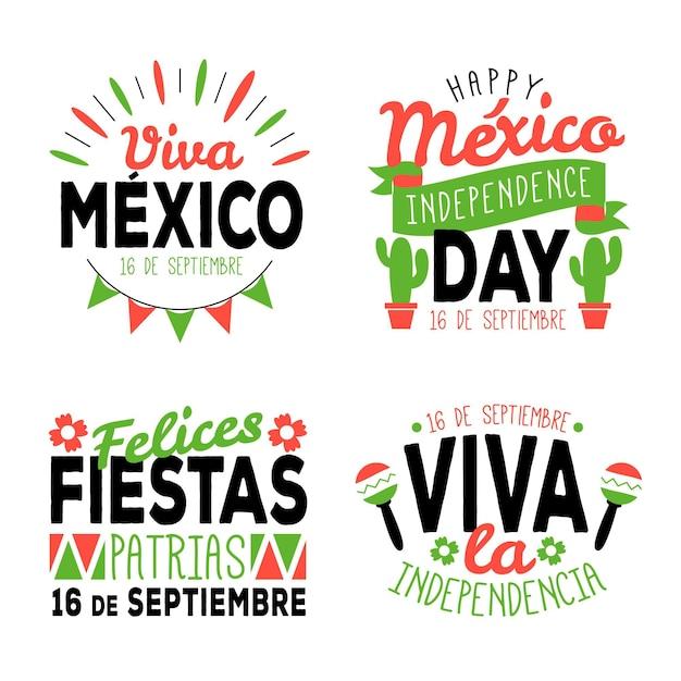 Insignes De La Fête De L'indépendance Du Mexique Vecteur gratuit